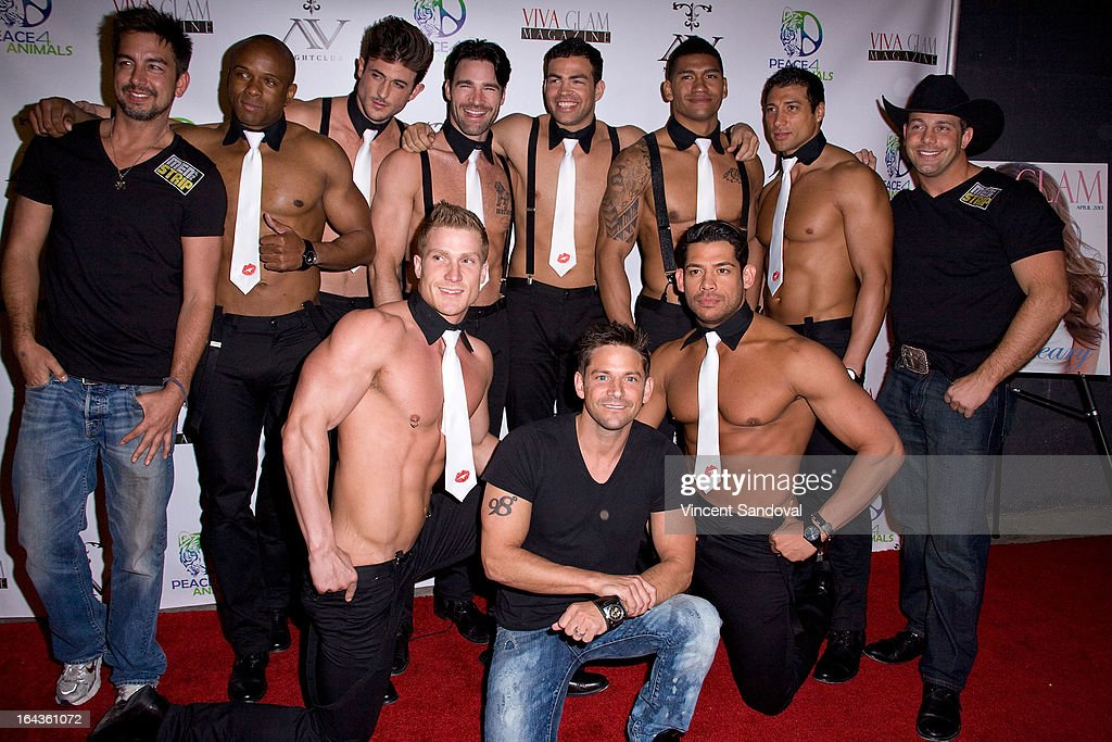 Singer Jeff Timmons (C) and 'Men Of The Strip' attend the Viva Glam Magazine April launch party in support of Peace 4 Animals at AV on March 22, 2013 in Hollywood, California.