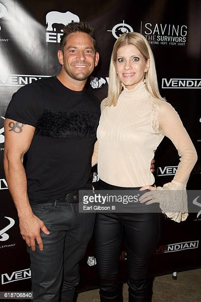 Singer Jeff Timmons and wife Amanda Timmons attend the Fundraiser For Rock The Elephant at Hotel BelAir on October 27 2016 in Los Angeles California