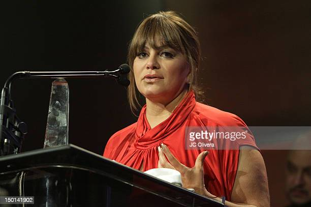 Singer Jenni Rivera speaks during the 27th Annual Imagen Awards at The Beverly Hilton Hotel on August 10 2012 in Beverly Hills California