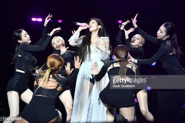 Singer Jennie Kim of BLACKPINK performs onstage during the 2019 Coachella Valley Music and Arts Festival on April 12 2019 in Indio California