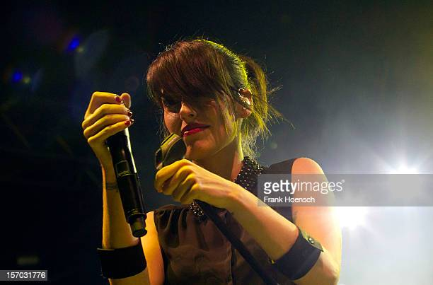 Singer Jennifer Ayache aka Jenn of Superbus performs live in support of Garbage during a concert at the Huxleys on November 27 2012 in Berlin Germany