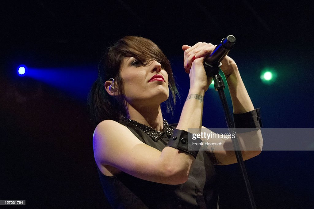 Singer Jennifer Ayache aka. Jenn of Superbus performs live in support of Garbage during a concert at the Huxleys on November 27, 2012 in Berlin, Germany.