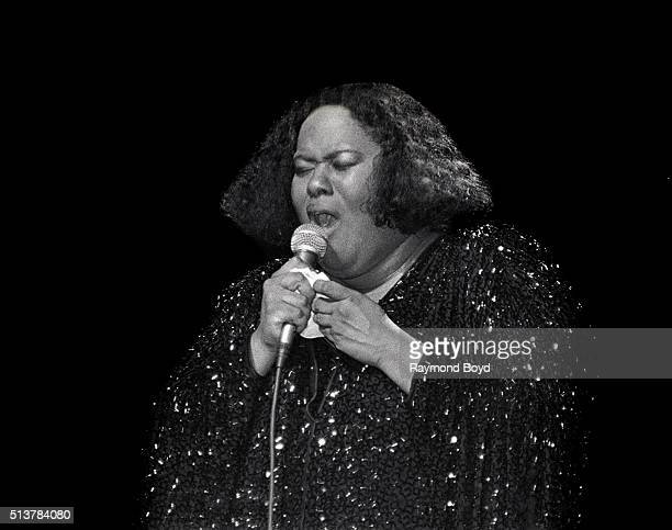 Singer Jennifer Holliday performs at the New Regal Theater in Chicago Illinois in 1985