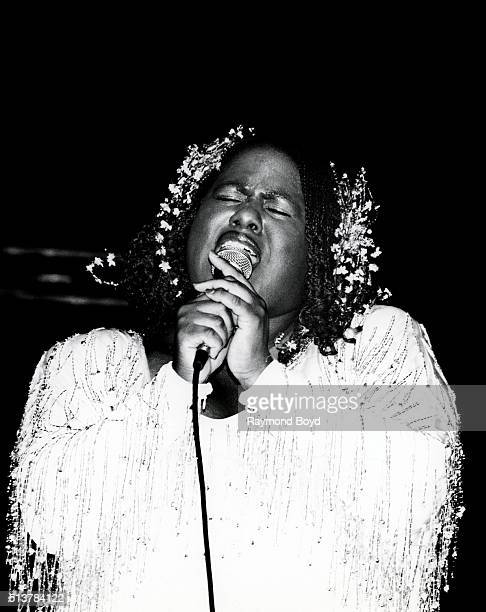 Singer Jennifer Holliday performs at the Auditorium Theater in Chicago Illinois in 1984