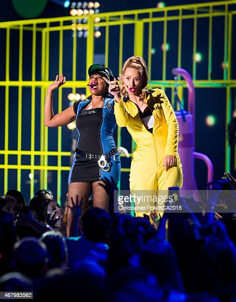 Singer Jennifer Hudson and rapper Iggy Azalea perform at Nickelodeon's 28th Annual Kids' Choice Awards held at The Forum on March 28 2015 in...