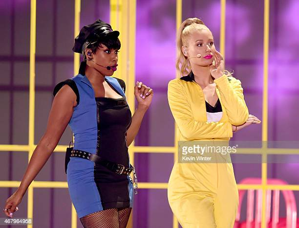 Singer Jennifer Hudson and rapper Iggy Azalea perform onstage during Nickelodeon's 28th Annual Kids' Choice Awards held at The Forum on March 28 2015...