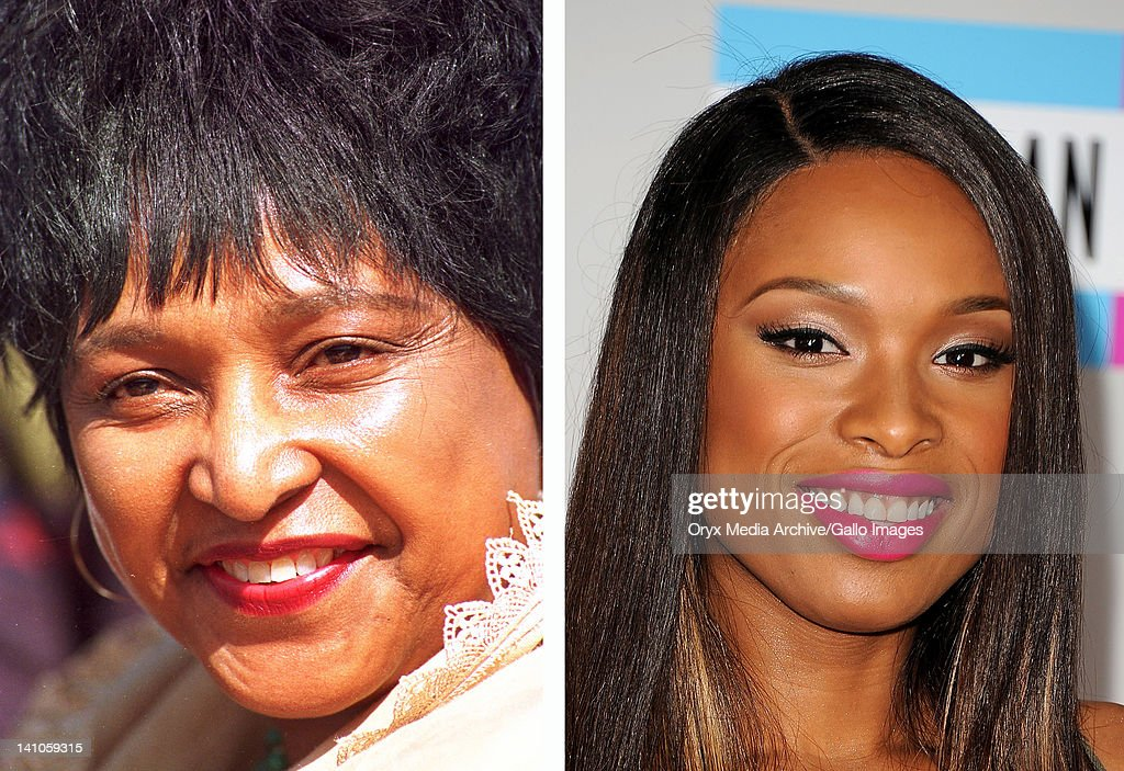 In this composite image a comparison has been made between Winnie Madikizela-Mandela (L) and actress Jennifer Hudson. Jennifer Hudson played Winnie Madikizela-Mandela in a 2011 film biopic about the wife of Nelson Mandela entitled 'Winnie.' LOS ANGELES, CA - NOVEMBER 20: Singer Jennifer Hudson arrives at the 2011 American Music Awards held at Nokia Theatre L.A. LIVE on November 20, 2011 in Los Angeles, California.