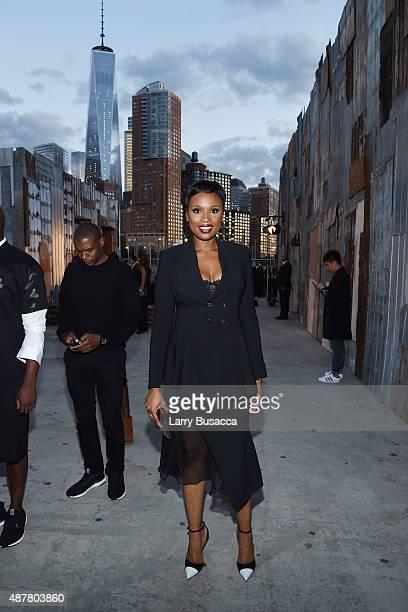 Singer Jennifer Hudson attends the Givenchy fashion show during Spring 2016 New York Fashion Week at Pier 26 at Hudson River Park on September 11...
