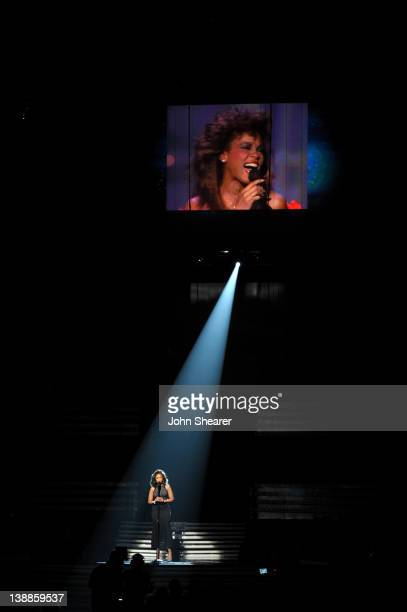 Singer Jennifer Hudson performs a tribute to the late Whitney Houston onstage at The 54th Annual GRAMMY Awards at Staples Center on February 12, 2012...