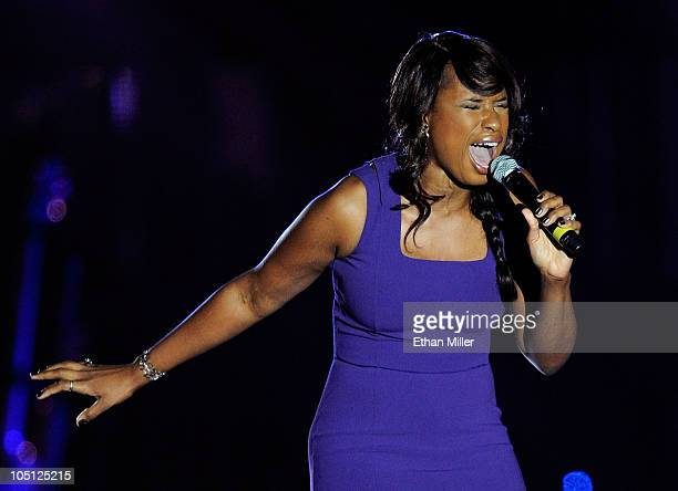 Singer Jennifer Hudson performs onstage during Andre Agassi Foundation for Education's 15th Grand Slam for Children benefit concert at the Wynn Las...