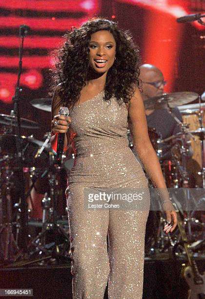 Singer Jennifer Hudson performs onstage during the 28th Annual Rock and Roll Hall of Fame Induction Ceremony at Nokia Theatre LA Live on April 18...