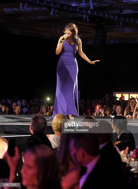 Singer Jennifer Hudson performs onstage during the Andre Agassi Foundation for Education's 15th Grand Slam for Children benefit concert at the Wynn...