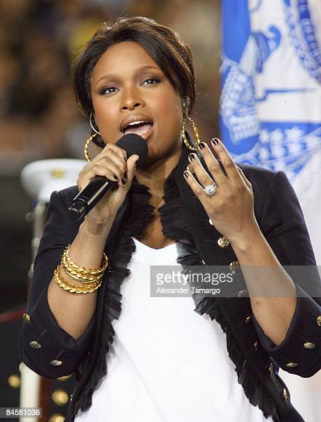 Singer Jennifer Hudson performs the national anthem during the pre-game show prior to the start of Super Bowl XLIII between the Arizona Cardinals and...