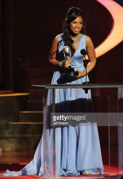 Singer Jennifer Hudson speaks onstage at the 43rd NAACP Image Awards after party held at The Shrine Auditorium on February 17, 2012 in Los Angeles,...