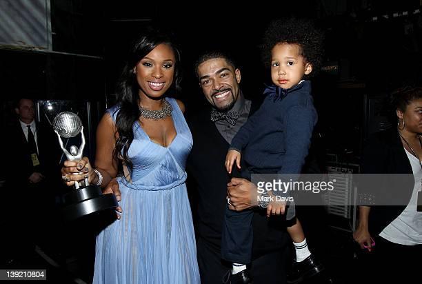 Singer Jennifer Hudson winner of the Outstanding Album award David Otunga and son David Daniel Otunga Jr attend the 43rd NAACP Image Awards held at...