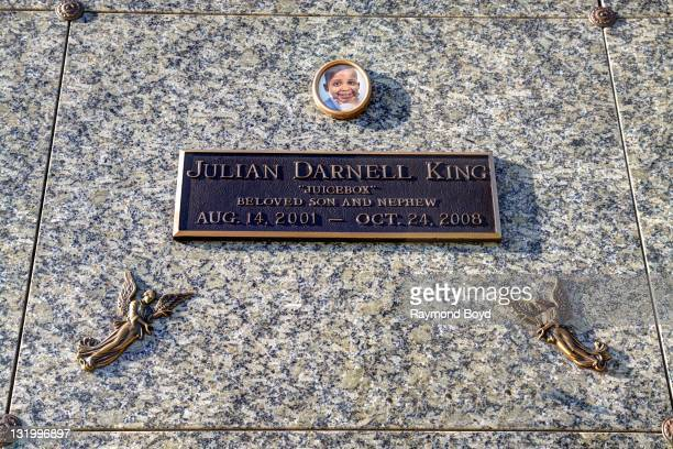 Singer Jennifer Hudson's nephew Julian Darnell King's crypt sits at Oak Woods Cemetery in Chicago Illinois on OCTOBER 22 2011