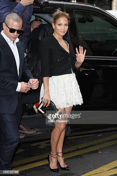 Singer Jennifer Lopez and Casper Smart are seen arriving at their hotel on October 2, 2012 in Paris, France.