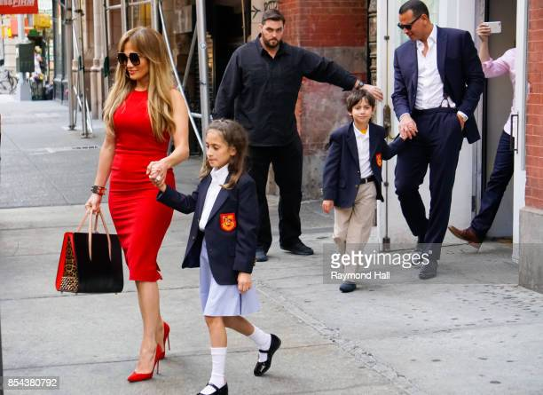 Singer Jennifer Lopez and daughter Emme and Alex Rodriguez and Maximilian Muniz are see outside ABC Kitchen on September 26 2017 in New York City