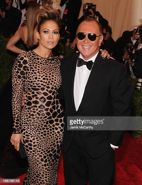 "Singer Jennifer Lopez and designer Michael Kors attend the Costume Institute Gala for the ""PUNK: Chaos to Couture"" exhibition at the Metropolitan..."