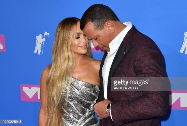 TOPSHOT US singer Jennifer Lopez and former US baseball player Alex Rodriguez attend the 2018 MTV Video Music Awards at Radio City Music Hall on...