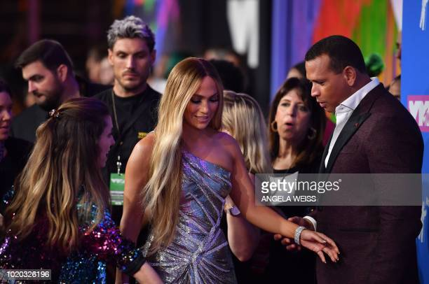 US singer Jennifer Lopez and former US baseball player Alex Rodriguez attend the 2018 MTV Video Music Awards at Radio City Music Hall on August 20...