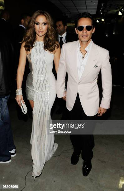 Singer Jennifer Lopez and husband Marc Anthony backstage during the 52nd Annual GRAMMY Awards held at Staples Center on January 31 2010 in Los...