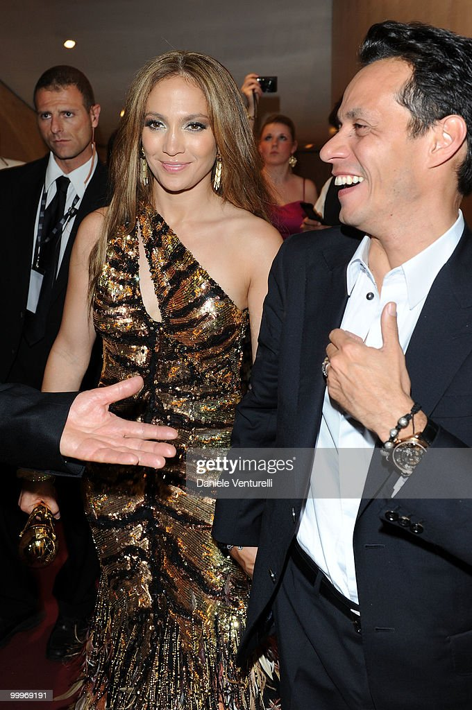 Singer Jennifer Lopez (L) and husband Marc Anthony backstage during the World Music Awards 2010 at the Sporting Club on May 18, 2010 in Monte Carlo, Monaco.