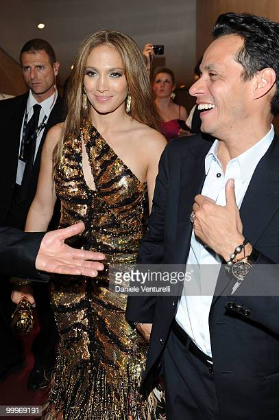 Singer Jennifer Lopez and husband Marc Anthony backstage during the World Music Awards 2010 at the Sporting Club on May 18 2010 in Monte Carlo Monaco