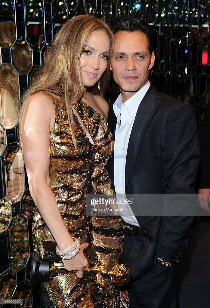Singer Jennifer Lopez (L) and husband Marc Anthony pose backstage during the World Music Awards 2010 at the Sporting Club on May 18, 2010 in Monte Carlo, Monaco.