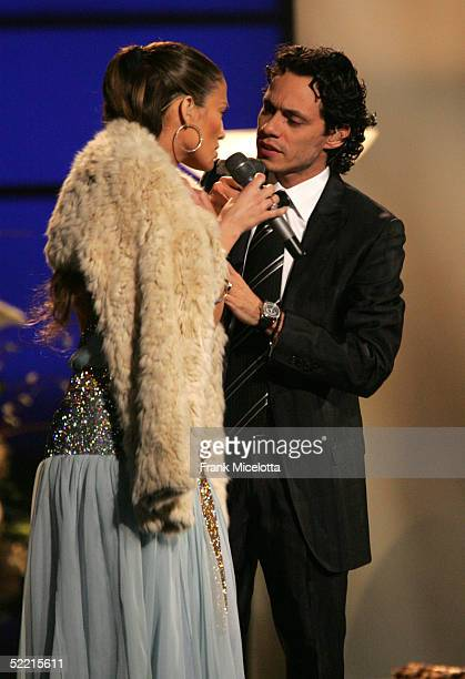 Singer Jennifer Lopez and Marc Anthony perform onstage during the 47th Annual Grammy Awards at the Staples Center February 13 2005 in Los Angeles...