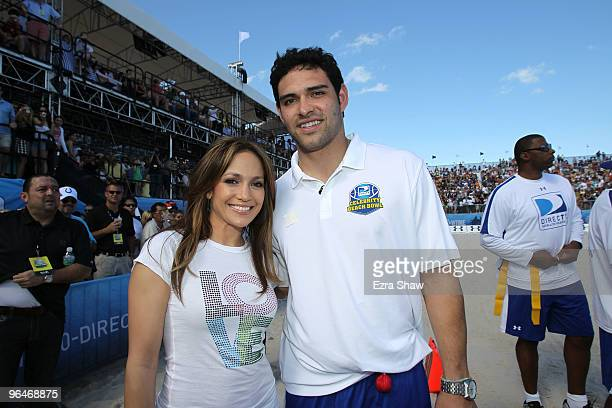 Singer Jennifer Lopez and Mark Sanchez of the NY Jets attend the Fourth Annual DIRECTV Celebrity Beach Bowl at DIRECTV Celebrity Beach Bowl Stadium...