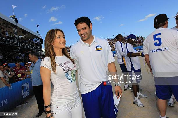 Singer Jennifer Lopez and NY Jets Quarterback Mark Sanchez attend the Fourth Annual DIRECTV Celebrity Beach Bowl at DIRECTV Celebrity Beach Bowl...