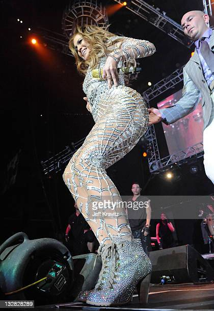 Singer Jennifer Lopez and Rapper Pitbull perform at 1027 KIIS FM's Wango Tango 2011 Concert at Staples Center on May 14 2011 in Los Angeles California