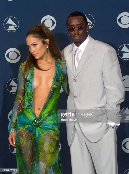 Singer Jennifer Lopez and Sean Puffy Combs backstage at the 42nd Annual Grammy Awards February 23 2000 in Los Angeles California