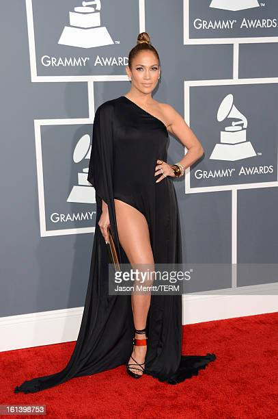 Singer Jennifer Lopez arrives at the 55th Annual GRAMMY Awards at Staples Center on February 10 2013 in Los Angeles California