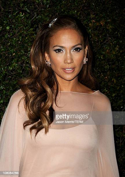 Singer Jennifer Lopez arrives at the Fox Searchlight 2011 Golden Globe Awards Party held at The Beverly Hilton hotel on January 16 2011 in Beverly...