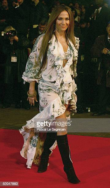 """Singer Jennifer Lopez arrives at the """"NRJ Music Awards"""" at the Palais des Festivals on January 22, 2005 in Cannes, France. The prestigious awards..."""