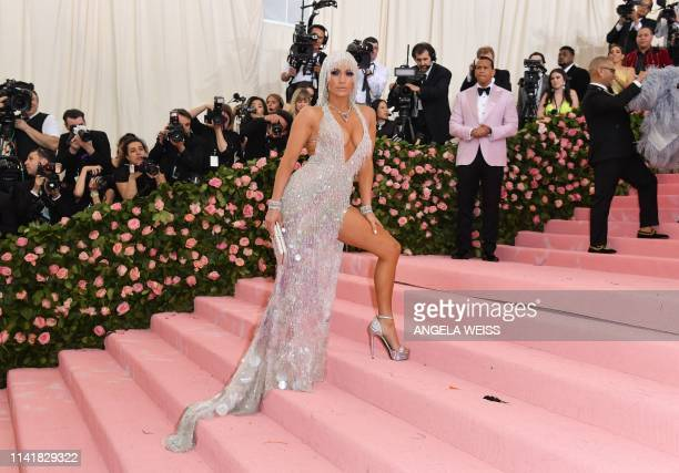 TOPSHOT Singer Jennifer Lopez arrives for the 2019 Met Gala at the Metropolitan Museum of Art on May 6 in New York The Gala raises money for the...