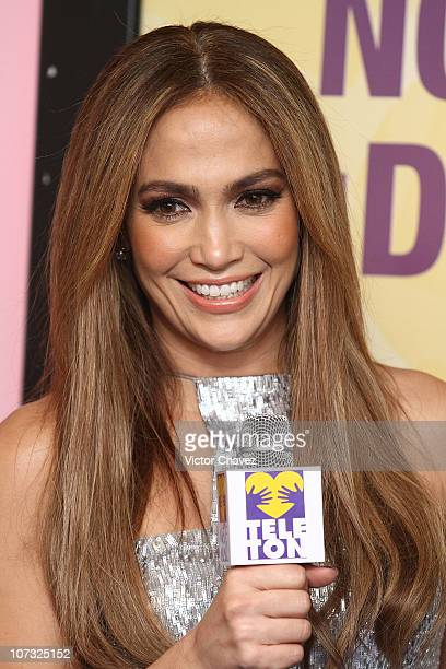 Singer Jennifer Lopez attends a press conference during the Teleton 2010 tv broadcast at Televisa San Angel on December 3 2010 in Mexico City Mexico