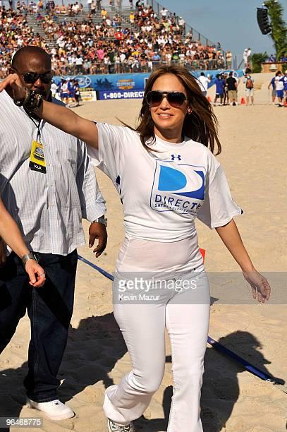 Singer Jennifer Lopez attends DIRECTV's 4th Annual Celebrity Beach Bowl on February 6 2010 in Miami Beach Florida