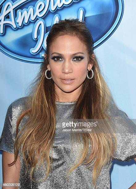 Singer Jennifer Lopez attends Fox's American Idol XIV Red Carpet Event at CBS Television City on December 9 2014 in Los Angeles California