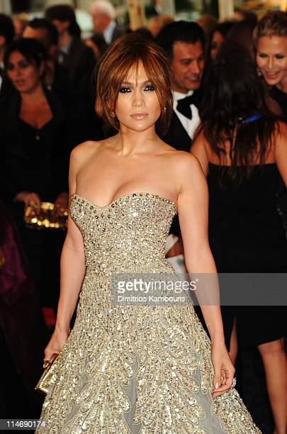 Singer Jennifer Lopez attends the Costume Institute Gala Benefit to celebrate the opening of the 'American Woman Fashioning a National Identity'...