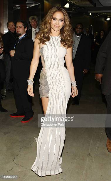 Singer Jennifer Lopez backstage during the 52nd Annual GRAMMY Awards held at Staples Center on January 31 2010 in Los Angeles California