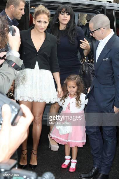 Singer Jennifer Lopez her daughter Emme Maribel Muniz Anthony and Casper Smart arrive to attend the Chanel Spring / Summer 2013 show as part of Paris...