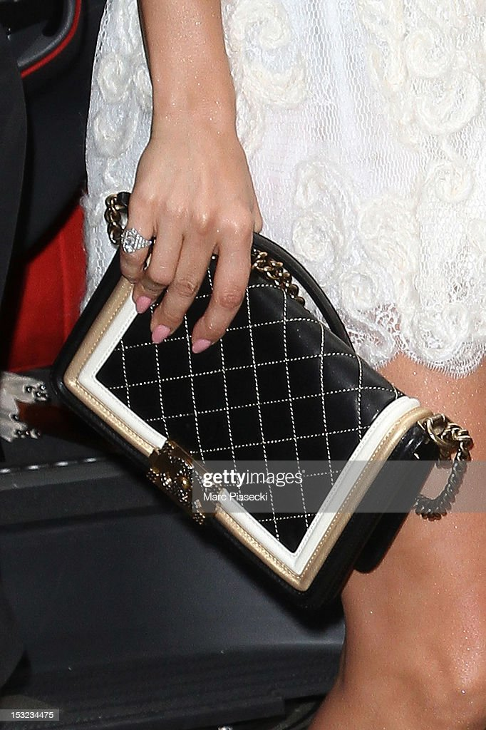 Singer Jennifer Lopez (handbag detail) is seen arriving at her hotel on October 2, 2012 in Paris, France.