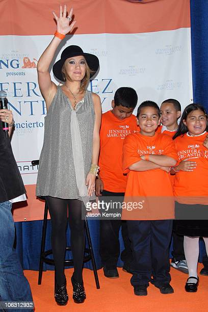 Singer Jennifer Lopez makes a special appearance to announce their upcoming Jennifer Lopez and Marc Anthony En Concierto Tour at PS 36 on September...