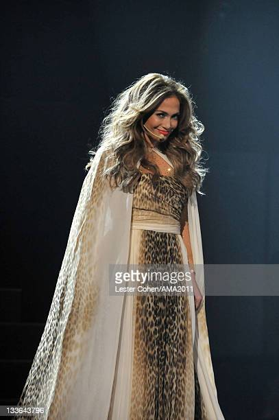 Singer Jennifer Lopez onstage at the 2011 American Music Awards held at Nokia Theatre L.A. LIVE on November 20, 2011 in Los Angeles, California.