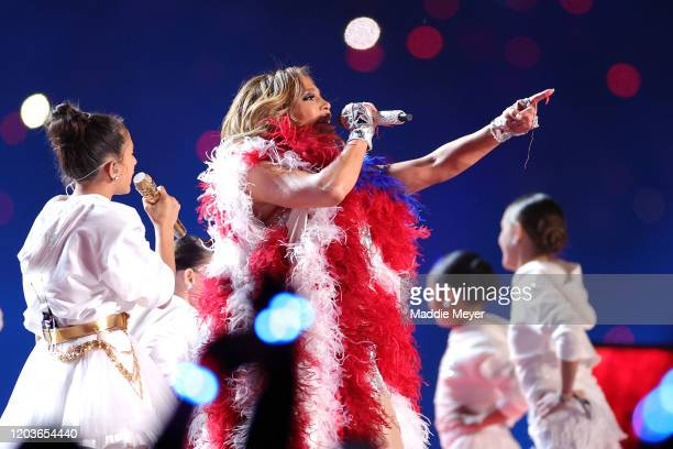 Singer Jennifer Lopez performs along with her daughter Emme Maribel Muñiz during the Pepsi Super Bowl LIV Halftime Show at Hard Rock Stadium on...