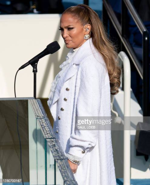 Singer Jennifer Lopez performs before US President-elect Joe Biden is sworn in as the 46th US President on January 20 at the US Capitol in...