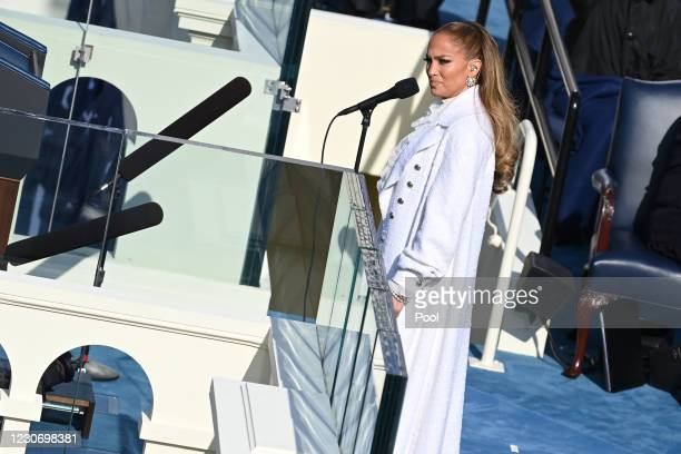 Singer Jennifer Lopez performs during the 59th Presidential Inauguration at the U.S. Capitol on January 20, 2021 in Washington, DC. During today's...